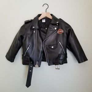 Harley Davidson Toddler Faux Leather Moto Jacket